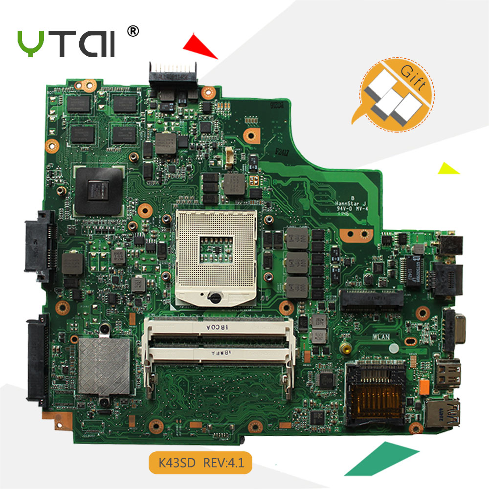 YTAI K43SD GT610M 2GB motherboard for ASUS A43E P43E K43E K43SD laptop motherboard REV:4.1 USB3.0 mainboard fully tested