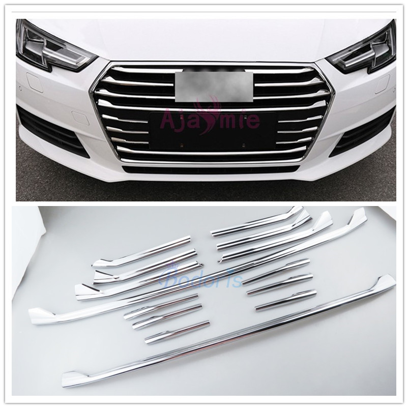 14pcs lot Accessories For Audi A4 2016 2017 Front Grille Trim Bumper Cover Mirror Surface ABS