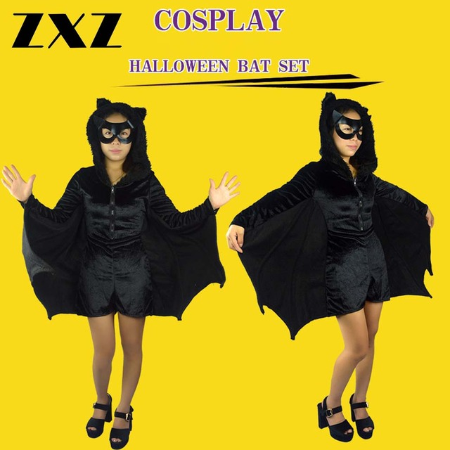 zxz fashion adult bat wings vampire costume halloween black cape with cap ladies fancy dress