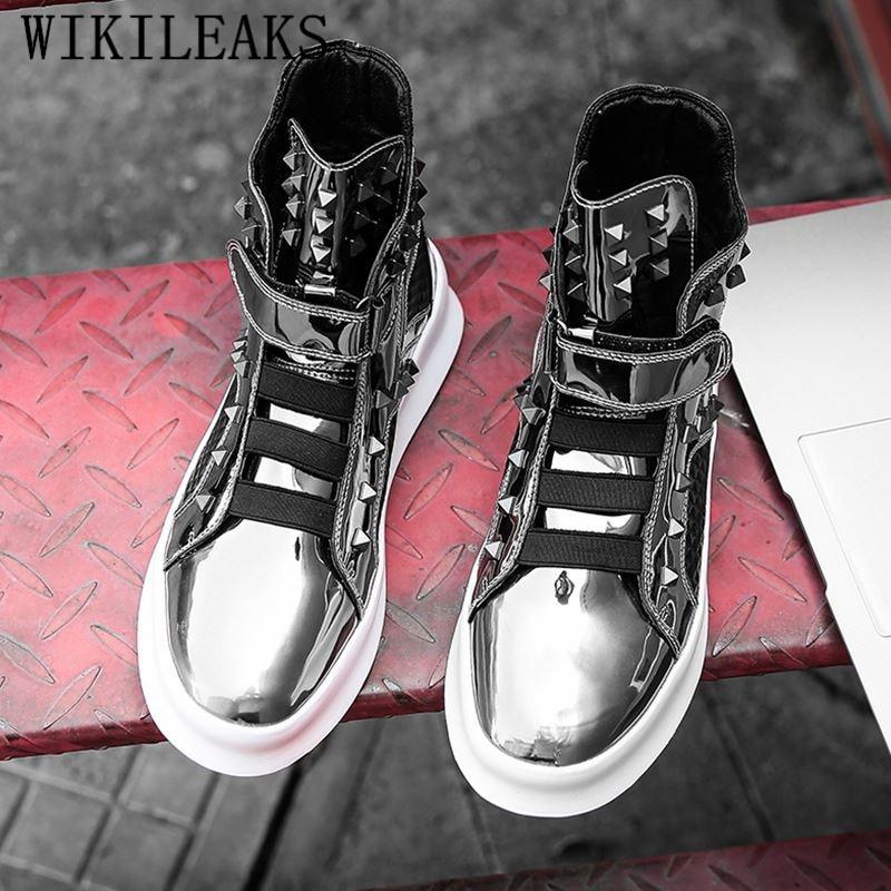 Tenis Hip Cuir Hop argent Noir Luxe High Adulto Top Homme En Marque Hiver Argent Chaussures De Noir Sneakers Chaussure Hommes Masculino P7RnXvpq