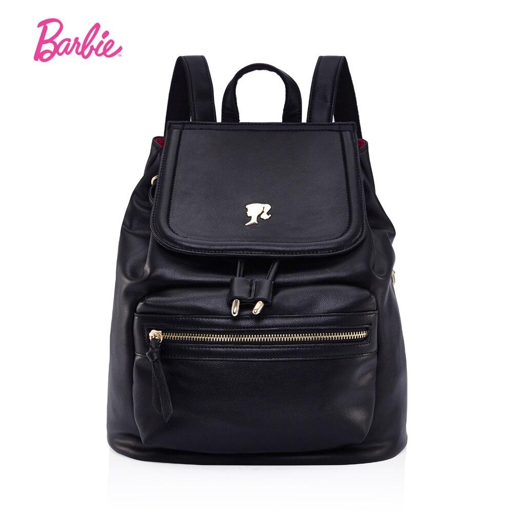 Barbie Casual Women PU Leather Backpack Brand Luxury Students Schoolbag for Teenage Girls Backpack Solid Black Travel Back bag