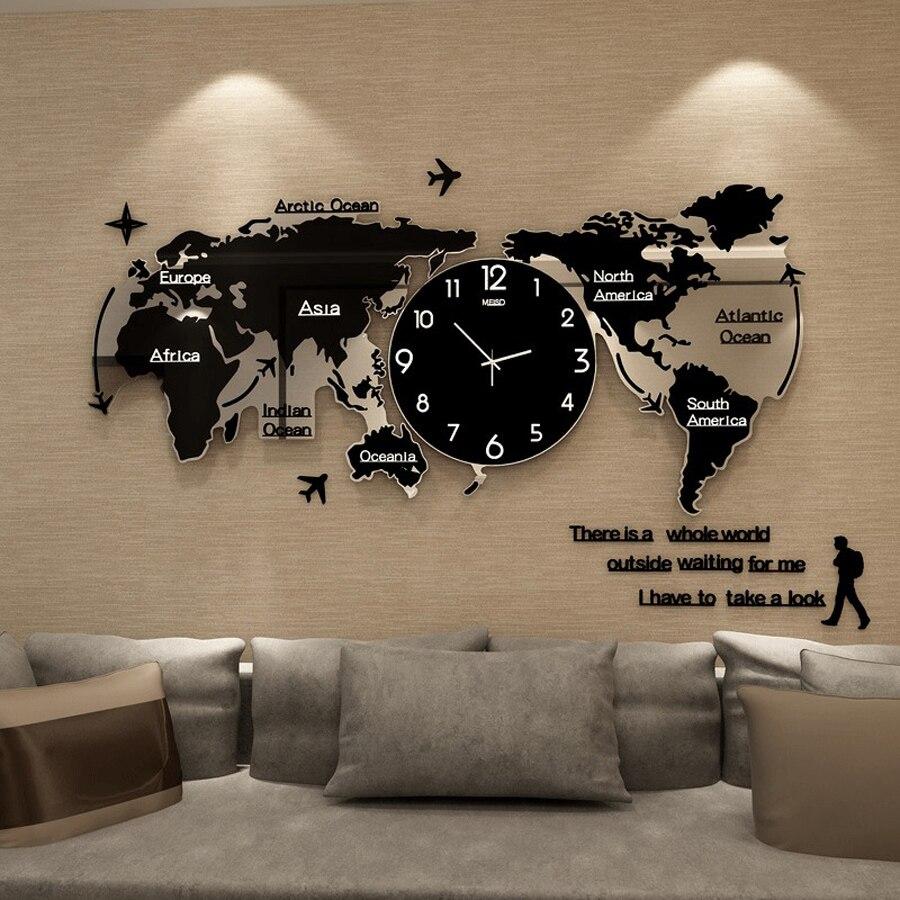 Carte du monde Grande Horloge Murale Design Moderne 3D Autocollants Horloge Suspendue Brillant dans L'obscurité Unique Montre Horloges Murales Décor À La Maison silencieux