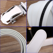 Gentelmen's High Quality Genuine Leather Belt – White / Black