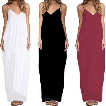 271408b9ac6 Bigsweety Новое Женское повседневное бохо платье Лето без бретелек v-образный  вырез свободные длинные макси платья сексуальный пляжный сарафан .