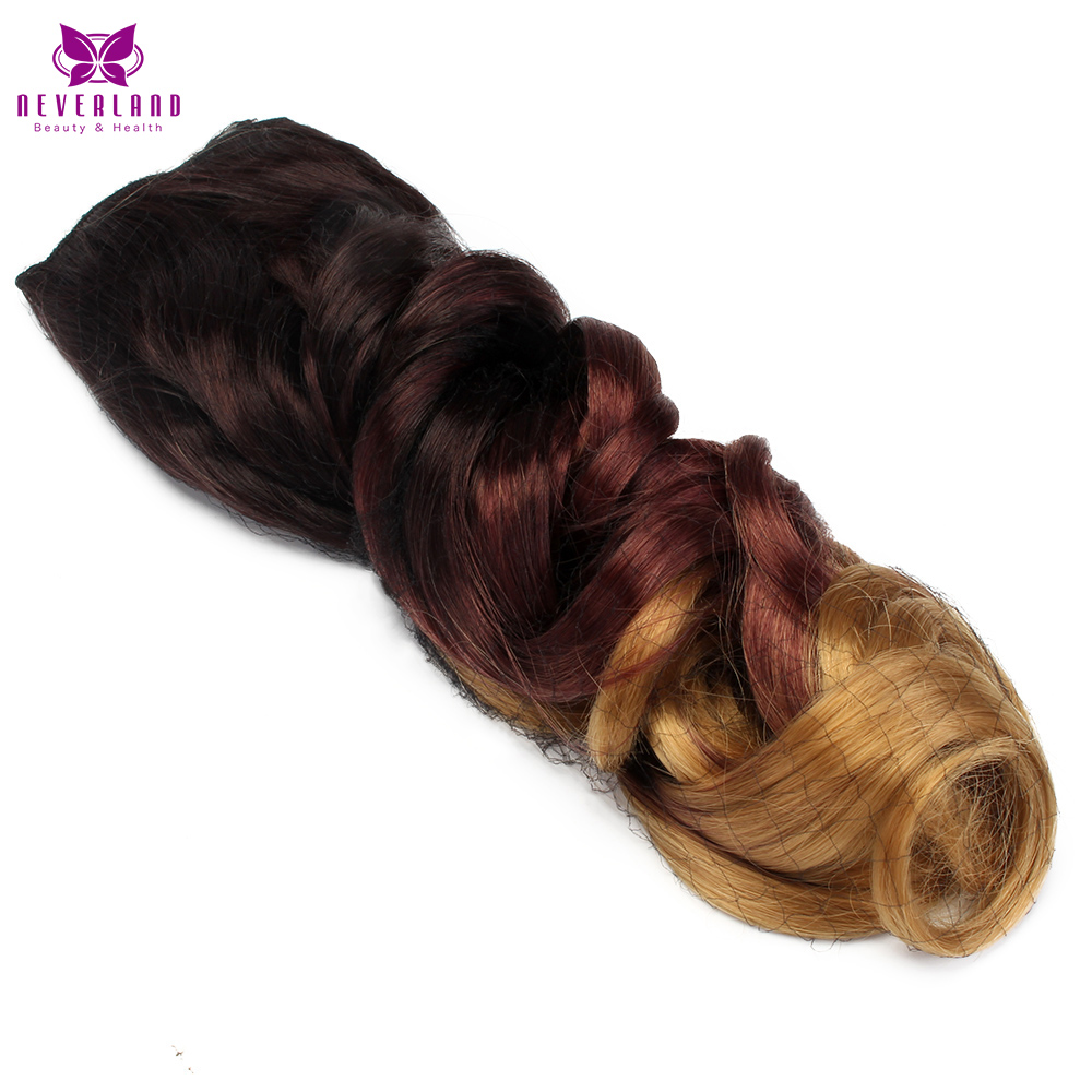 Neverland Heat Resistant Ombre Hair 5 Clips One Piece Wavy Hairpiece Clip In Hair Extensions Synthetic