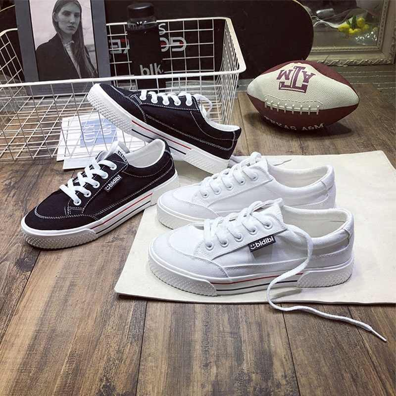 2019 bahar yeni klasik kanvas ayakkabılar kadın moda rahat beyaz ayakkabı Harajuku retro rahat düz ayakkabı