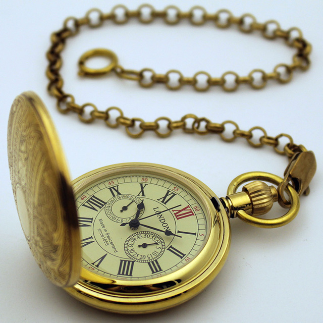Luxury London Vintage Man Mechanical Pocket Watch Classic Retro Copper 5 Hands Brass Gift New good quality