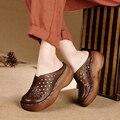 2017 Couro Genuíno Das Mulheres Plataforma Sandálias de Cunha de Slides Cortar Cobrir Dos Pés Das Mulheres Sapatos Casuais