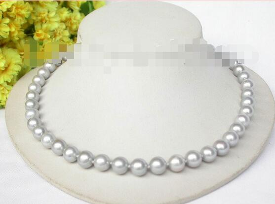 noble women gift Jewelry Silver Clasp LONG 17 INCH 10mm luster Gray round pearls necklace ladybug noble women gift Jewelry Silver Clasp LONG 17 INCH 10mm luster Gray round pearls necklace ladybug