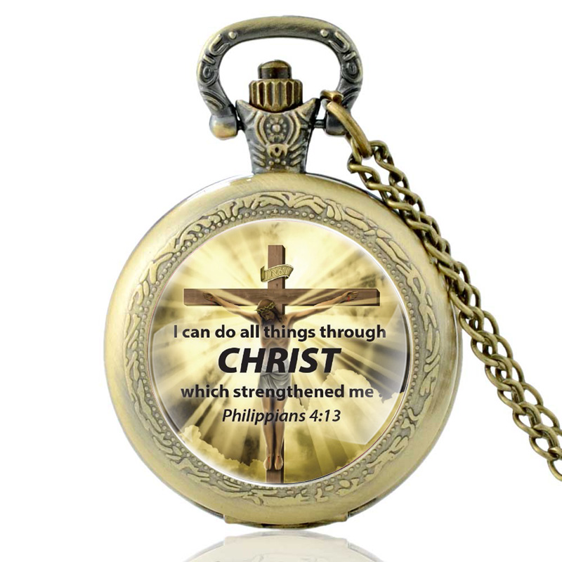I Can Do All Things Through Christ Bible Verses Cross Quartz Pocket Watch Vintage Men Christian Faith Pendant Necklace Watches