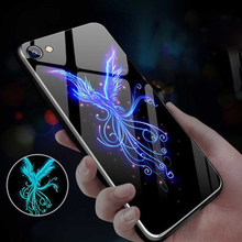 3D Touch Lion Tiger Wolf Luminous Glass Phone Case For iPhone 11 XSmax XR XS X 7 8 6 6s Plus Pro Phoenix Pattern Cover Coque