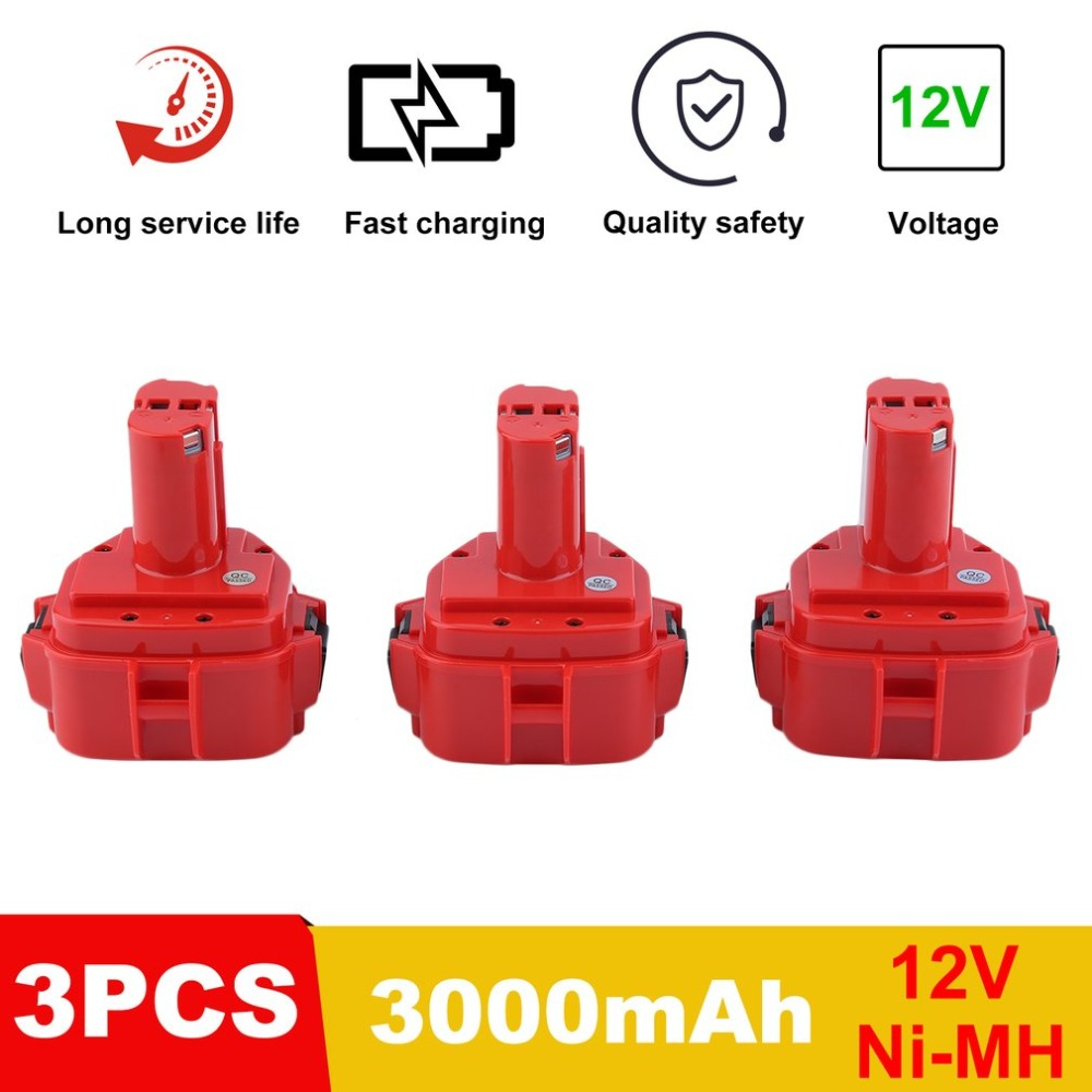 LESHP 3 PCS Replacement Battery 3000MAH 12V 3Ah Ni-MH Battery Replacement Power For MAKITA Portable Power Tool Batteries 24v 3000mah 3 0ah rechargeable battery pack power tools batteries cordless drill ni mh battery for makita bh2430 bh2433
