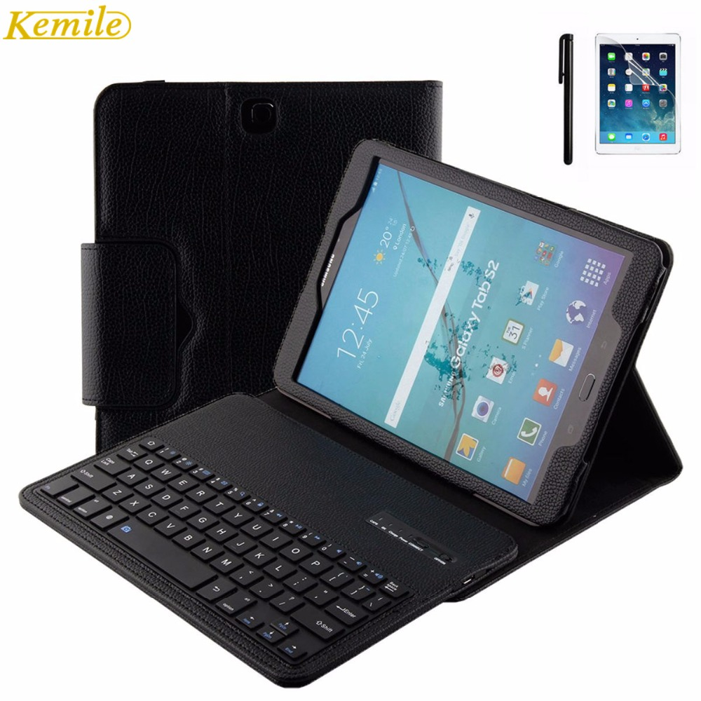 Kemile Removable Wireless Bluetooth Keyboard Portfolio Leather Stand Case Cover for Samsung Galaxy Tab S2 9.7 T810 T815 T819 detachable official removable original metal keyboard station stand case cover
