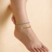 New Women's Simple Gold Color Metal Fashion Blue Beaded Sequins Double Chain Anklets Body Jewelry Accessories Wholesale