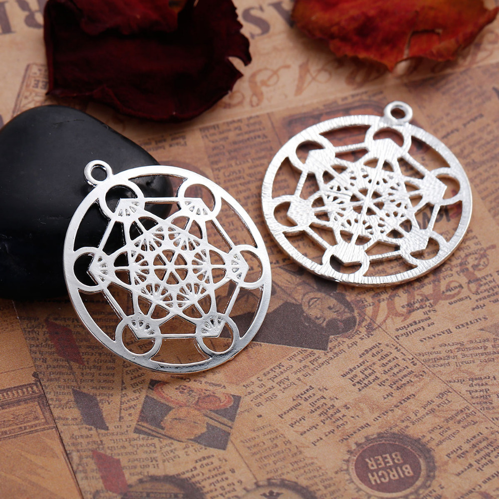 DoreenBeads Zinc Based Alloy Silver Color Round Merkaba Meditation Hollow Pendants DIY Components 44mm x 40mm(1 5/8), 3 PCs