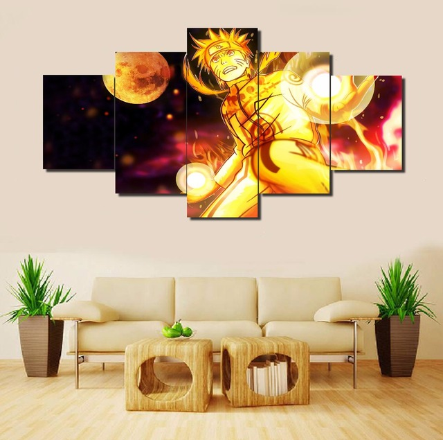 Hot Sell 5 Piece Canvas Art Naruto Anime Cuadros Decoracion Paintings on Canvas Wall Art for Home Decorations Wall Decor/ny 39-in Painting & ...