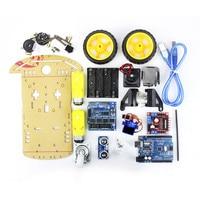 Smart Electronics Motor Smart Robot Car Chassis Kit Avoidance Tracking Speed Encoder Battery Box 2WD Ultrasonic