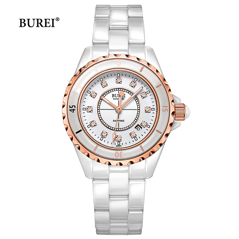 BUREI Brand Ladies Watch Women Fashion Waterproof Sapphire Crystal Ceramic Quartz Wrist Watch Clock Woman Saat Relogio Feminino casima women watches waterproof fashion ladies leather rhinestone gold quartz wrist watch clock woman 2018 saat relogio feminino