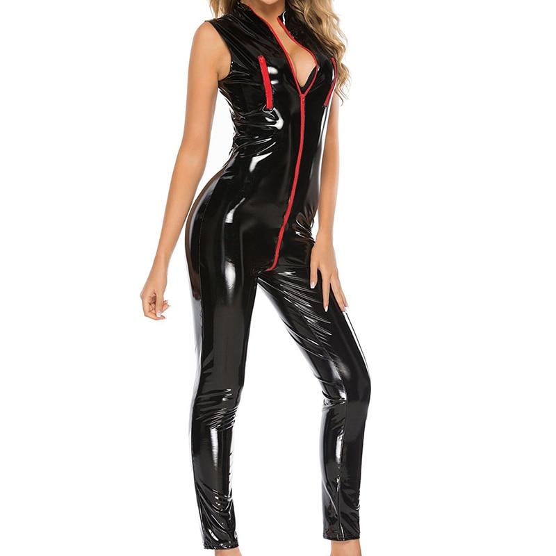 Sexy Lingerie Women Leather Latex catsuit PU Bodysuit Zipper Nightclub Pole Dance Performance Uniforms Sexy Locomotive Suits