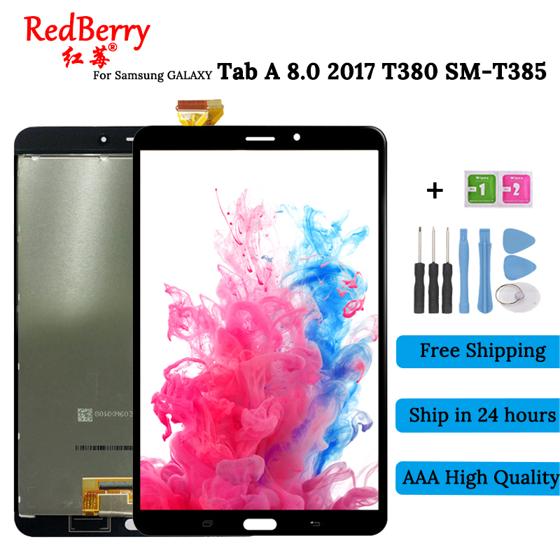 New 8.0 For Samsung Galaxy Tab A 8.0 2017 SM-T380 SM-T385 T380 Touch Screen Digitizer Glass Lcd Display assembly Replacement new lcd display touch screen for samsung galaxy c7 c7000 lcd screen digitizer pantalla complete replacement assembly