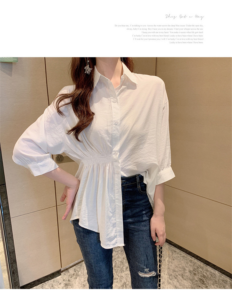 2019 Summer New Korean Version Of The Wild Long Paragraph 7 Points Sleeves Waist Loose Thin Temperament White Shirt Women (17)