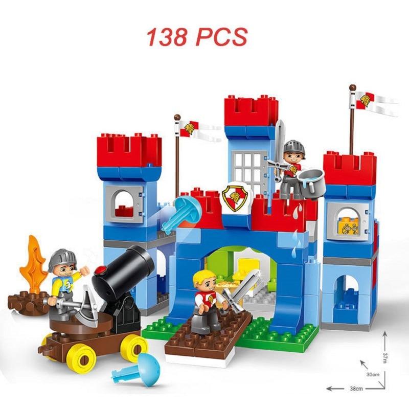 138 pièces grande taille soldats de guerre artillerie Royal château mur blocs de construction compatibles Leogings Duploe série jouets bébé cadeau - 2