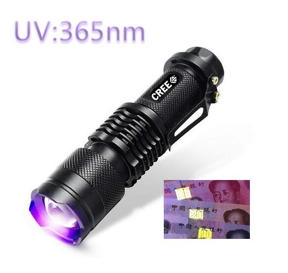 MINI LED UV Violet Flashlight 365nm Zoomable Black Aluminum Purple Violet Light SK68 Led Flashlight Torch By 14500 Battery