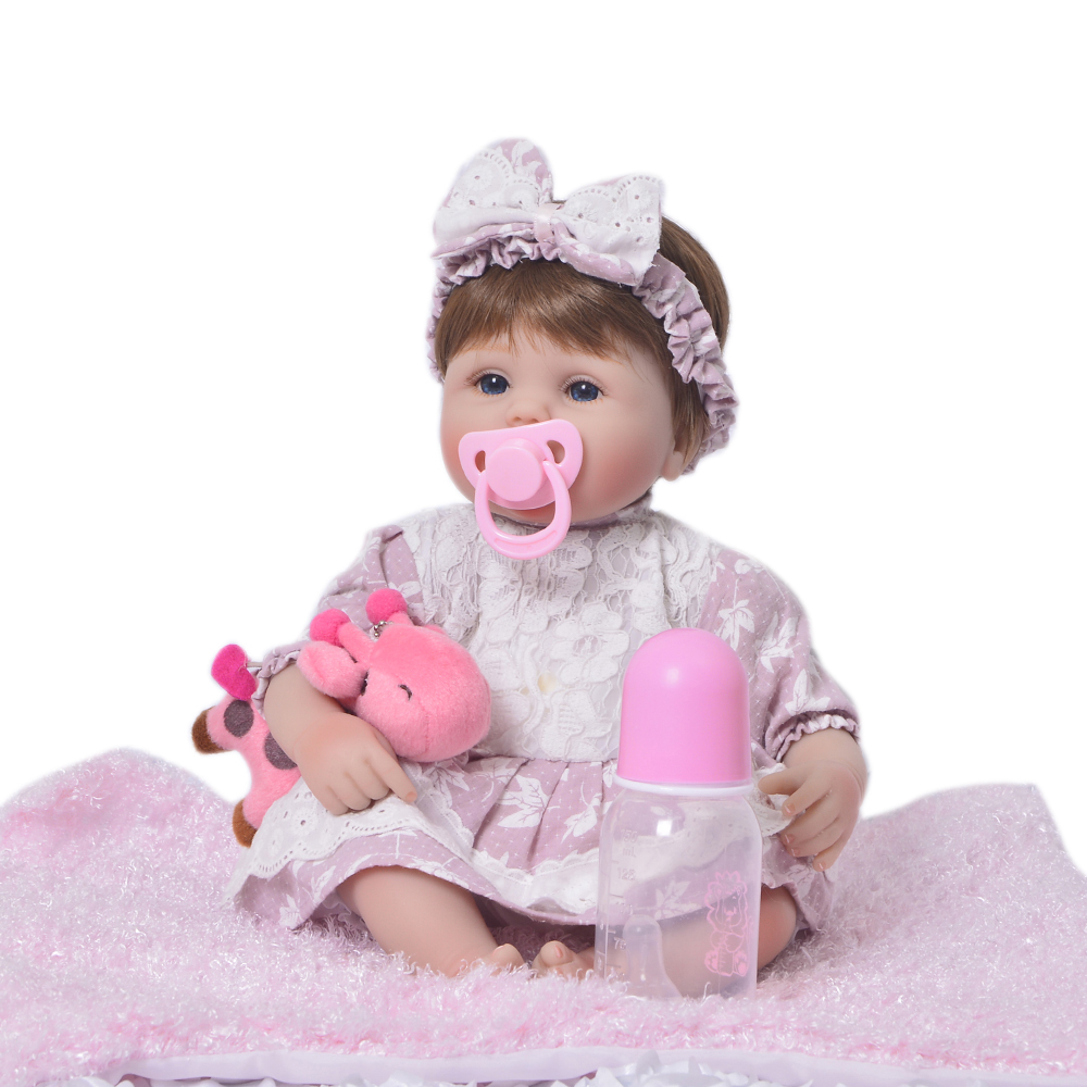 Menina Alive 17'' Lifelike reborn baby doll full silicone Girl Model Beautiful Doll for babies newborn gifts for the new year senior full term fetus model superior baby care training model the model of newborn babies