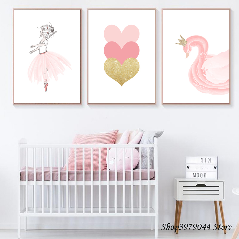 Baby Room Pink Girl Poster Nordic Cartoon Swan Canvas Painting Heart Wall Art Print Wall Pictures Decoration Home Unframed
