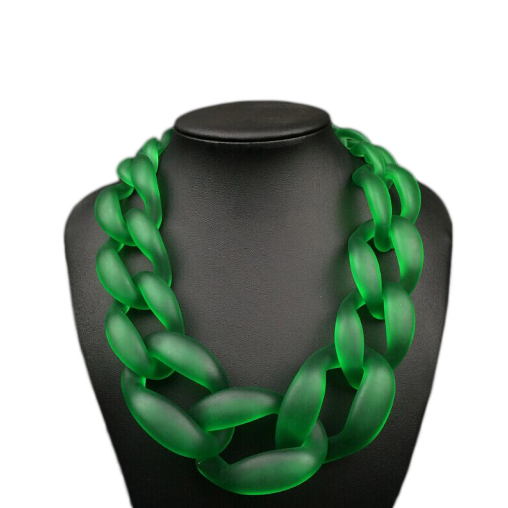 Trendy Punk Big Acrylic Clasp Clavicle Chain Necklace