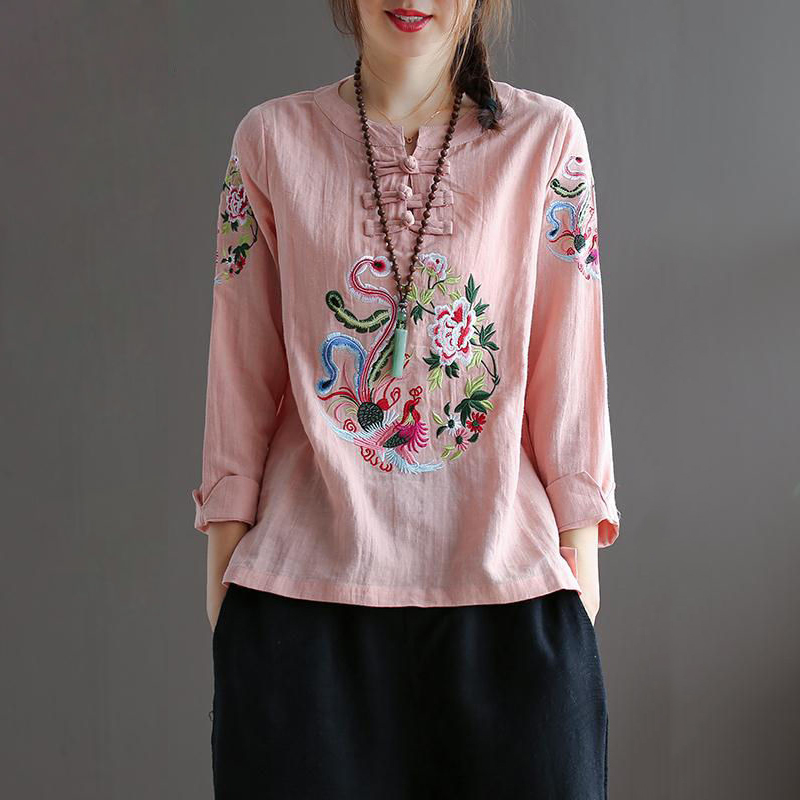 Chinese Ethnic Embroidery Blouse Women 3/4 Sleeve Loose Summer Tops O neck 100% Cotton Linen Tees Ladies Clothes