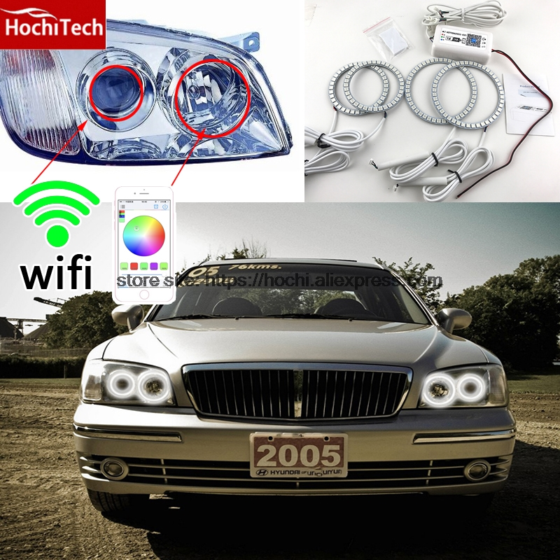 HochiTech Excellent RGB Multi-Color halo rings kit car styling for Hyundai Grandeur 1998-2005 angel eyes wifi remote control hochitech excellent rgb multi color halo rings kit car styling for volkswagen vw golf 5 mk5 03 09 angel eyes wifi remote control
