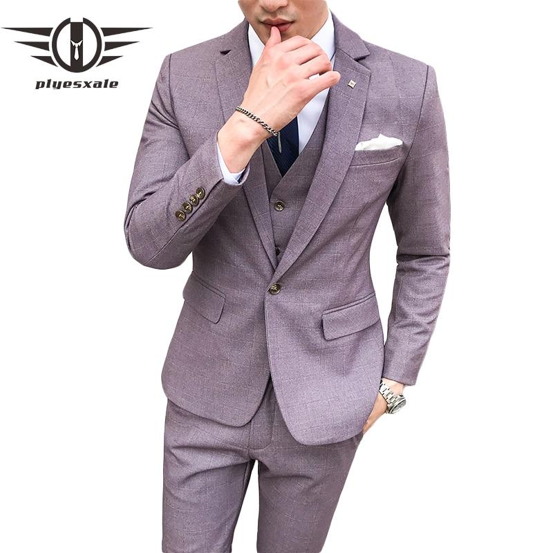 Plyesxale 3 조각 격자 무늬 정장 남자 블루 라이트 퍼플 망 결혼식 의상 terno 슬림 맞는 캐주얼 정장 재킷 바지 조끼 q345-에서정장부터 남성 의류 의  그룹 1