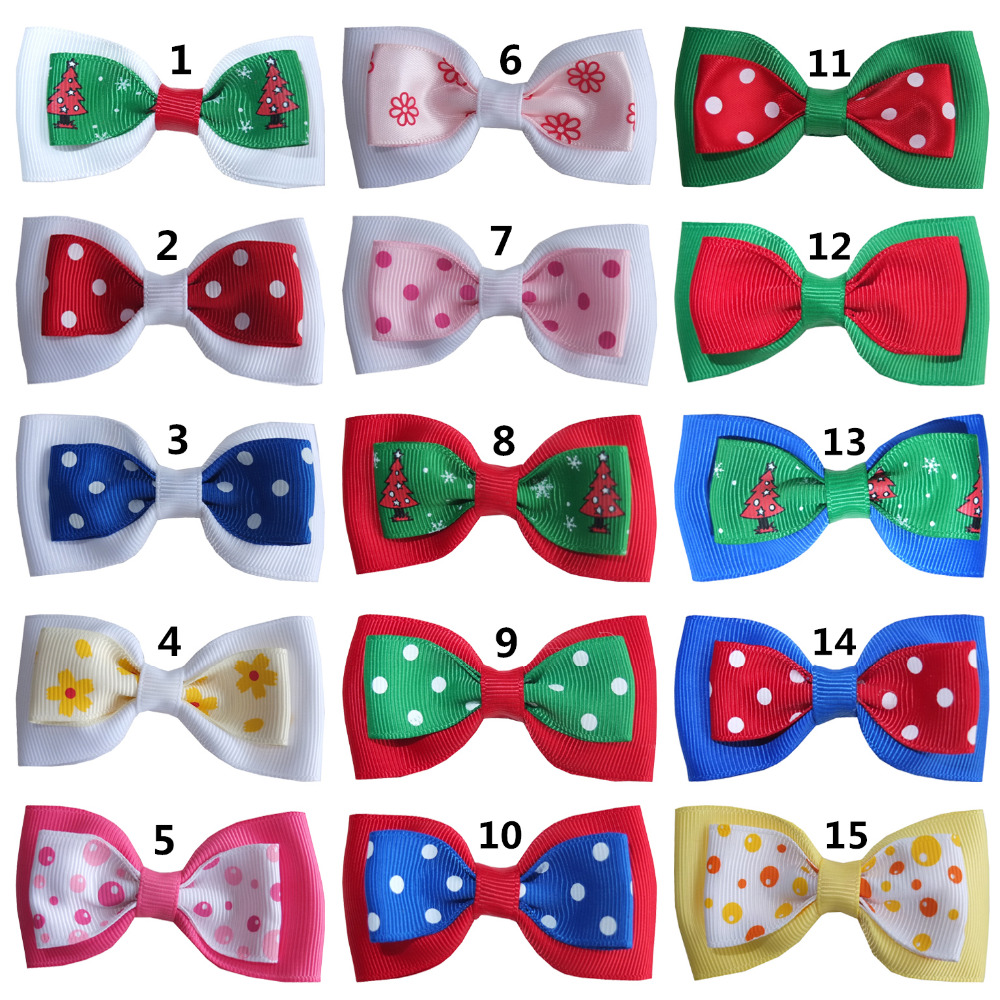 2 pcs Boutique Hair bows Kids Girls Christmas HairBow Hair Clips Headwear Children Gift bows Holiday bow Dots ribbon Bows