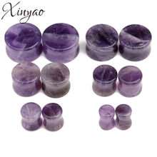 XINYAO Double Flared Natural Stone Ear Plugs Tunnels Piercing 6-16mm Rose Quartzs Amethysts Ear Gauges Expander For Women Men(China)