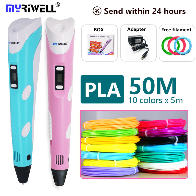 Myriwell 3d Pen +1.75mm PLA Filament 3D Print  Pen With LED/LCD Screen 3 D Pen Gift For Kids The Best  Birthday Present