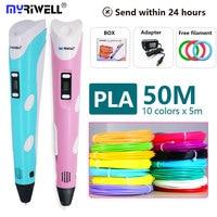 Myriwell pluma 3d + 1,75mm PLA filamento 3D pluma de impresión con pantalla LED/LCD 3 D pluma regalo para los niños el mejor regalo de cumpleaños