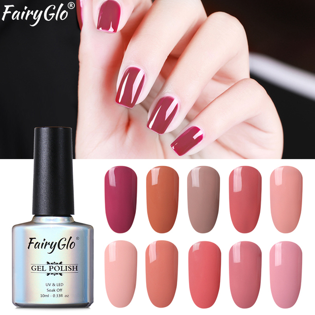 FairyGlo 10ML Stamping Paint Nail Polish Nude Color Elegant Nail ...