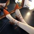 2016 Novas Mulheres Primavera Bombas Pontas Do Dedo Do Pé Quadrado Sapatos de Salto mulher Oco Out Cruz Cinta de Camurça Sexy Sapatos das Mulheres Solteiras sandálias