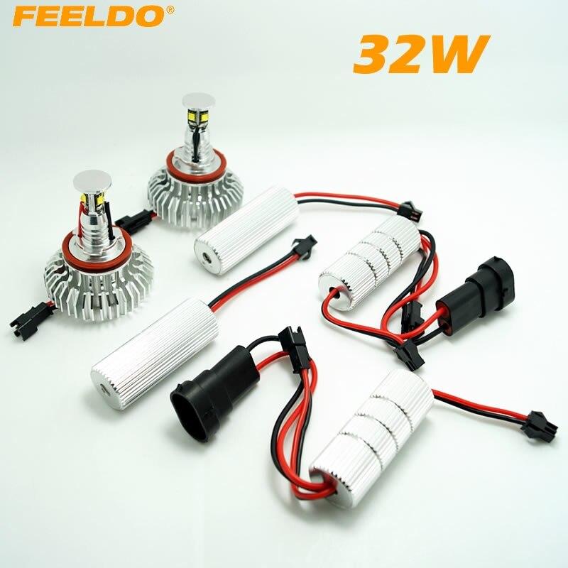 FEELDO 2Pcs H8 32W CREE LED Chips Angel Eyes HALO RING Light Bulbs For BMW E92