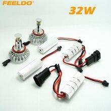 FEELDO 2 Pcs H8 32 W CREE Chips de LED Angel Eyes ANEL de HALO Lâmpadas Para BMW E92/E60/E70/E89/X5/E71/X6 Com OEM Faróis de Xenônio