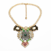 2014 New Arrival Resin Glass Zinc Alloy 18k Shiny Gold Clear Crystal Rhinestone Imitation Owl Necklace