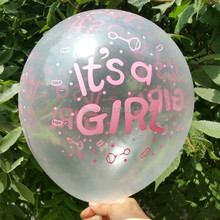 Transparent printing balloon (50pieces/lot) 12 inch 2.8g round it is girl latex happy birthday decoration Hot