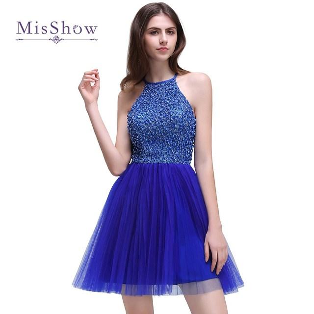 Neue Ankunft Sexy Royal Blue Kurze Brautkleider 2017 Mieder Tüll ...