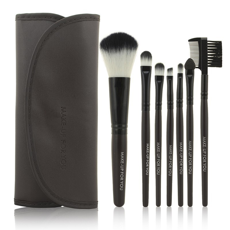 1Set  Professional 7 pcs Makeup Brush Set tools Make-up Toiletry Kit Wool Brand Make Up Brush Set Case Coffee Free Shipping hot sale professional 24 pcs makeup brush set tools make up toiletry kit wool brand make up brush set cosmetic brush case