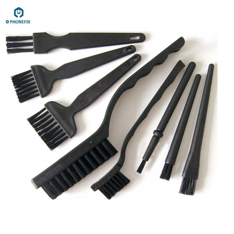 PHONEFIX 8pcs BGA Repair Cleaning Brush Flux Paste PCB Repair Tools Kit Motherboard Anti Static Brush For Mobile Phone Repair