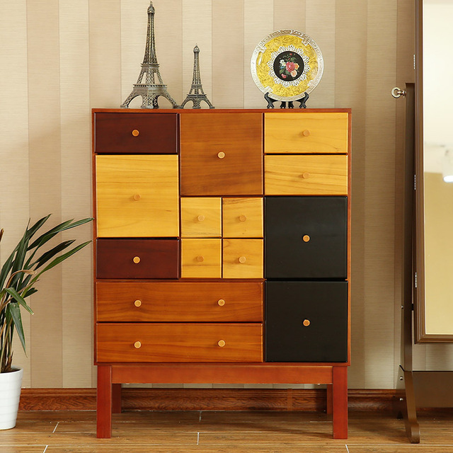 American Country Solid Wood Furniture Colorful Side Cabinet Drawer
