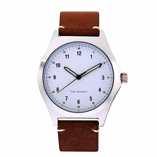 Stainless Steel Case Business Date Function Men Male Black Leather Strap Quartz