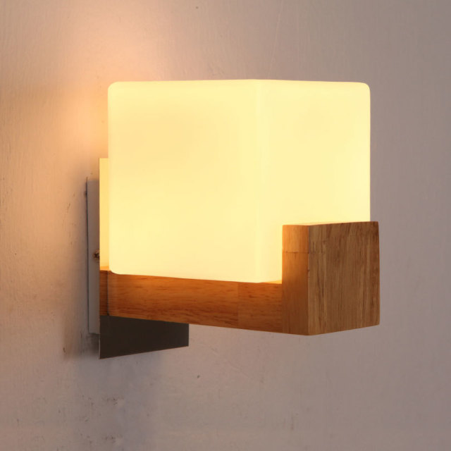 Oak wood+glass bedside lamp LED wall mounted lamp single-head and double  head