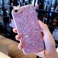 Luxo glitter bling caixa do telefone para iphone 6 6 s 7 mais suave tpu diamante lantejoulas pele de volta caso capa para o iphone 7 com colhedor
